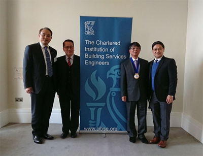 CIBSE President Peter Y Wong and Past Chairs of CIBSE HK Branch (Dr PL YUEN (L) and Mr. Thomas CHAN(R))